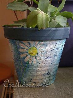 Terra cotta pot, paint, crackle paint, napkins and modge podge