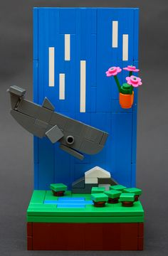 #LEGO Diorama #Microscale | The Sperm Whale and the bowl of Petunias | by Brainbikerider
