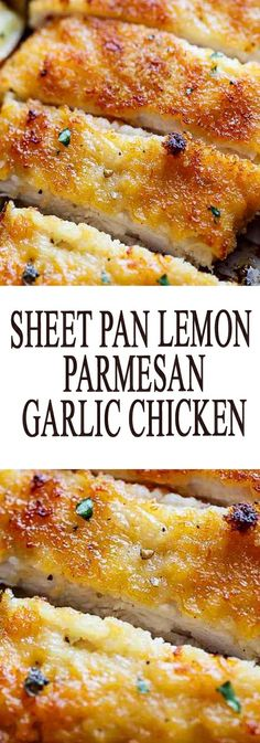 Sheet pan lemon parmesan garlic chicken chicken chickenrecipes: Ingredients For The Chicken: 1 large egg 2 tablespoons lemon juice (or juice of ½ a lemon) 2 teaspoons minced garlic ½ tablesp… Chicken Parmesan Recipes, Parmesan Potatoes, Lemon And Garlic Chicken, Baked Lemon Garlic Chicken, Garlic Salmon, Recipe Chicken, Think Food, Turkey Recipes, Food Dishes