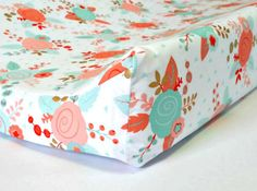 This coral, and gold mint  floral shabby chic changing pad cover fits standard size contoured changi