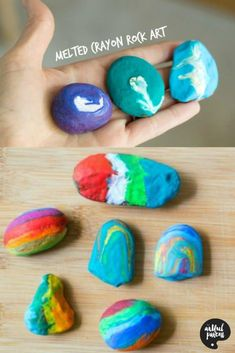 How to make beautiful rock gifts by melting crayons on rocks. Crayon rocks are easy and fun for kids to make, beautiful, and make great handmade gifts! via Artful Parent Easy Art For Kids, Crafts For Kids To Make, Kid Crafts, Toddler Crafts, Painting For Kids, Drawing For Kids, Rock Painting, Fine Motor Activities For Kids, Music Activities