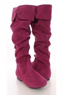Berry Faux Suede Cuff Closed Toe Flat Boots