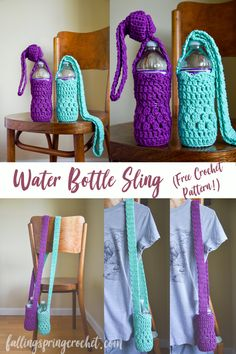 Falling Spring Crochet Water Bottle Sling (free crochet pattern) Make some red & white ones For school spirit colors This is the perfect sling for carrying your water bottle while hiking in the woods, around the fair, or at festivals! It keeps your drinks Crochet Gratis, Free Crochet, Knit Crochet, Free Knitting, Crochet Socks, Crochet Handbags, Crochet Purses, Purse Patterns, Crochet Patterns