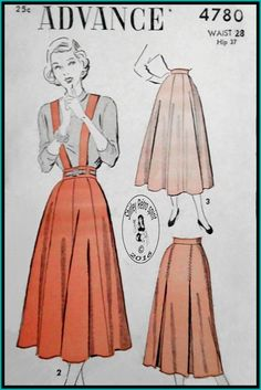 Advance 4780-1948  Vintage Sewing Patterns Advance 1940s 1948 Skirts Suspenders  Gored Skirts Inverted Pleats Stitched Pleats Flared Skirts