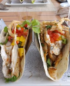 Seafood tacos at Tukka Native Fusion restaurant on the East End of Grand Cayman Island, in the Caribbean.