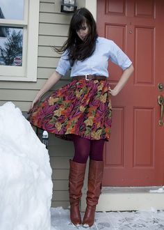 (Teacher Style) Fall colors print high waist knee length skirt - maroon tights - white 3/4 sleeve button up shirt - camel brown leather belt - camel brown riding boots