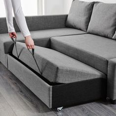 IKEA - FRIHETEN, Corner sofa-bed with storage, Skiftebo dark grey, This sofa converts quickly and easily into a spacious bed when you remove the back cushions and pull out the underframe. Sofa, chaise longue and double bed in one. Ikea Friheten, Friheten Sofa Bed, Sectional Bed, Ikea Sofa Bed, Sofa Bed With Chaise, Ikea Sofa Sleeper, Ikea Corner Sofa Bed, Sofa Daybed, Living Room Ideas