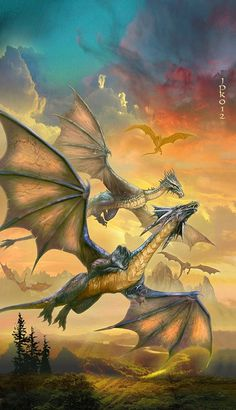 Artwork: dragons by fantasy artist Jan Patrik Krasny. See more artwork by this featured artist on the fantasy gallery website. High Fantasy, Fantasy World, Fantasy Art, Magical Creatures, Fantasy Creatures, Creatures 3, Beautiful Creatures, Fantasy Wesen, Dragon Medieval