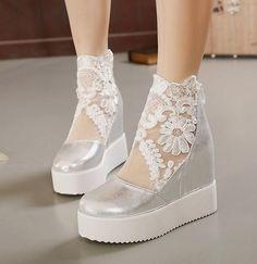 Summer Wedding Shoes Ideas 1 - The Weddings Silver Wedding Shoes, Wedge Wedding Shoes, Lace Wedding, Wedding Dresses, Wedding Wows, Wedding Ideas, Wedding Inspiration, Wedding Decor, Silver Wedges