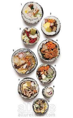 김밥의 세계에 혁명이 불고 있다. 재료의 원산지와 치즈의 종류에 대해 고민하고, 때로는 한 줄에 1만원이 넘기도 한다. 새로운 김밥의 역사를 쓰고 있는 6곳의 김밥 전문점에서 찾은 의외의 맛. 1 공수간 왕김밥음식을 만드는 공간인 공수간. 정성스러운 공수간의 왕김밥은 덩치 큰 모범생 같다. 수수한 흰색 쌀밥을 가득 품고, 기본 재료를 담은 생김새가 순하기 그지없다. 맛도 그렇다. 맛살과 햄, 계란, 잘게 썬 채소가 밥과 함께 부드럽게 씹힌다. 눈에 띄는 점은 그냥 썬 채소가 아닌 '오복지'를 넣었다는 것. 오복지는 오이와 당근, 우엉, 무 등 다섯 가지 야채를 간장과 식초, 물엿 등으로 절인 것을 뜻한다. 초생강처럼 은근히 입맛을 돋우는 오복지의 오묘한 맛을 음미하면서 꼭꼭 씹어 먹기를. 가격 4천원 영업시간 오후 3시부터 오전 3시까지 주소 서울시 강남구 대치동 889-75 문의 02-567-8611 2 고봉민김밥인 떡갈비김밥 2009년 부산에서 시작해 입소문을 타며…