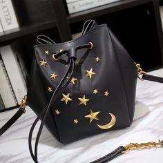 f141d1685c7b Saint Laurent Mini Monogram Star Studded Bucket Bag In Leather Black