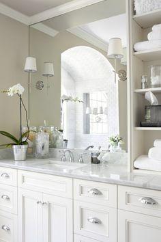 White bathroom decor decorating the guest bath bathroom traditional bathroom bathroom bathroom design small beige and Bad Inspiration, Bathroom Inspiration, Bathroom Renos, Master Bathroom, Bathroom Ideas, Bathroom Styling, Bathroom Sconces, Bathroom Remodeling, Bathroom Storage