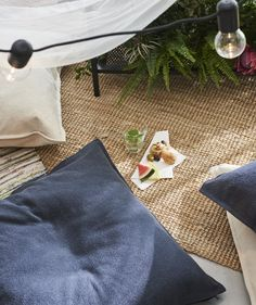 IKEA - JOFRID, Throw, dark blue-gray, Cotton is a soft and easy-care natural material that you can machine wash. Ikea Outdoor, Plein Air Ikea, Plaid Gris, Picnic Blanket, Outdoor Blanket, Indoor Picnic, Dark Blue Grey, Recycling, Cushions