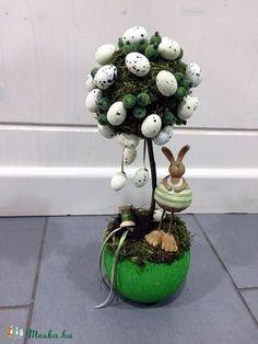 Húsvéti tojásos asztaldísz, Dekoráció, Otthon, lakberendezés, Dísz, Ünnepi dekoráció, Kedves ajándék lehet saját magadnak vagy barátaidnak:) Zöld kaspóba tojásfát készítettem s..., Meska (Dettusz)