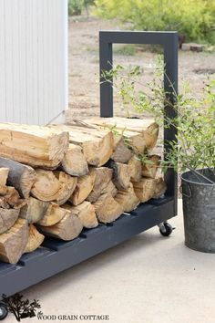DIY Rolling Firewood Cart - The Wood Grain Cottage