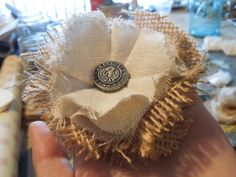 How to make Rustic Shabby Chic Burlap Flowers video tutorial too