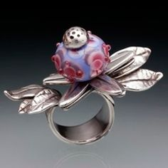 Lesley Messam's fabulous ring made with silver clay and lampwork. I love this!