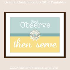 ....and Spiritually Speaking: General Conference Printables - October 2012 - November Visiting Teaching & Home Teaching Ideas. Great site.