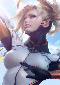 Artist: Artgerm. Character: Mercy from Overwatch. https://m.facebook.com/Stanleyartgermlau/