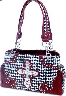 Houndstooth Cross Purse with Crimson Trim