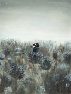Hug by Miren Asiain Lora - Size: LARGE 12 x 16 inches (30,3 x 40,5 cm.) in size Giclée print of an original in pencil and acrylic. - Each print in this series of 25, comes with a certificate of authen