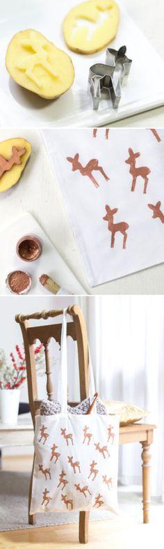 Kupfer-Bambis! DIY Bambi-Beutel mit Kartoffeldruck, schnelle Geschenke selbstgemacht