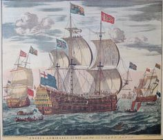 18th century print of English Admiral's ship