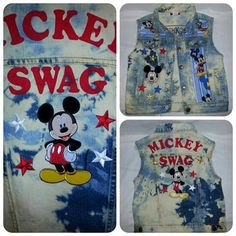 Custom made bleached denim Mickey Mouse vest by Danika Vaughn for your little prince or princess! Love it!