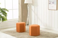 Dara 3001 Ottoman Bench Orange Set of 2  Set includes 2 Ottomans.  Comfortable seating with about 6 cm of foam, to allow for maximum comfort to be used as a chair, game chair, foot stool or can even be stacked as a décor item.  Removable and washable fabric to ensure long lasting beauty of ottoman.  Perfect as a décor item, children room, for adults and many uses around the house.  We have provided the most accurate photos to feature the product, however due to individual monitor setti...