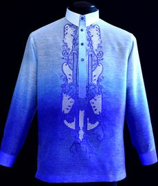 DETAILS: The Barong Tagalog and its contemporary designs Color: Monochromatic Royal Blue Traditional Straight-Point collar , cuff buttons Traditional four-open button front Machine embroidery Formal fit Mens Hottest Fashion, Barong Tagalog, Filipiniana Dress, Philippines Fashion, Line Shopping, Formal Looks, Burgundy Color, Royal Blue, Graphic Sweatshirt