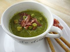 Broccoli Soup with Salty Parma Ham