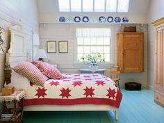 Wonderful Rustic Youth Bedroom Decor with Red White Starry Patterned Bedding and Turquoise Painted Wooden Flooring #unique #interior #design // #interiordesign