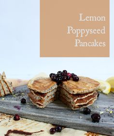 Lemon Poppyseed Pancakes - #vegan and made with whole grain and buckwheat flours. Perfect #weekend treat!
