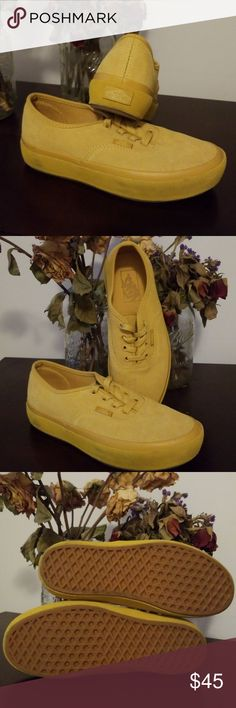 f94e34459f4af2 Vans Womens Ochre Yellow Authentic Platform The Authentic from Vans is an  iconic low top.