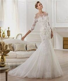 Cool lace wedding dresses with sleeves and open back 2017-2018