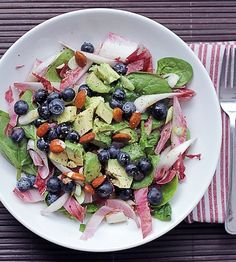 blueberries, avocado & red chicory salad