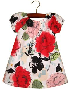 LAST ONE Peasant baby dress Red Peonies Size 3  6 by JMhandmade, $23.00