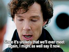 """gifset. """"Sherlock is actually a girl's name."""" WHAT?! NO WAY! New baby girl middle name: acquired!"""
