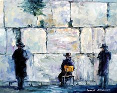 """Wailing Wall — Palette Knife  Oil Painting On Canvas By Leonid Afremov - Size 24"""" x 30"""""""