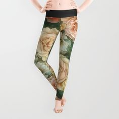 Floral rose pattern Leggings by StrijkDesign | Society6