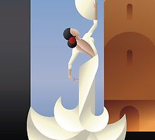 """""""Art Deco styled Spain Flamenco dancer on sity landscape"""" Graphic/Illustration by Jera RS posters, art prints, canvas prints, greeting cards or gallery prints. Find more Graphic/Illustration art pr. Art Deco Illustration, Kunst Poster, Poster S, Motifs Art Nouveau, Spanish Art, Spanish Dancer, Spanish Style, Art Deco Paintings, Art Deco Stil"""
