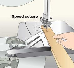 Clamp a speed square to the table of your bandsaw and get a nice straight cut.......D. #woodworkingtips