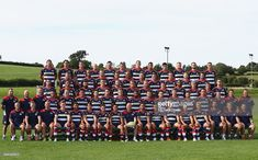 The playersand coaches and backroom staff pose for a group portrait during the Bristol Rugby squad photo call for the 2016-2017 Aviva Premiership Rugby season on August 23, 2016 in Bristol, England.