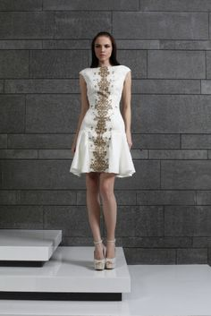 Style 24 I Short Off White Organza cocktail dress with Gold thread embellishment on the middle front line