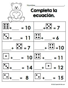 Free math worksheets for February (Bilingual- matematicas hojas ...