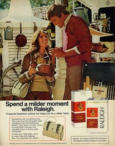 "Vintage 1970s Raleigh cigarettes magazine advertisement, couple at antique sale, vinyl over-the-shoulder Neal handbag offer with B&W coupons, 1973.  Tagline: ""Spend a milder moment with Raleigh.""  Published in Ladies Home Journal, April 1973, Vol 90 No. 4  Fair use/no known copyright. If you use this photo, please provide attribution credit; not for commercial use (see Creative Commons license)."
