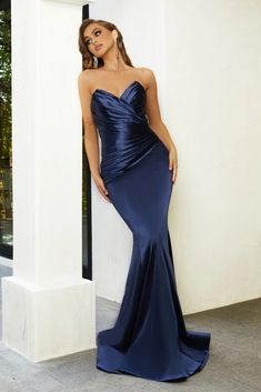 Strapless Dress Formal, Formal Dresses, Prom Dresses, Satin Material, Flare Skirt, Bodice, Special Occasion, Blue Dresses, Gowns