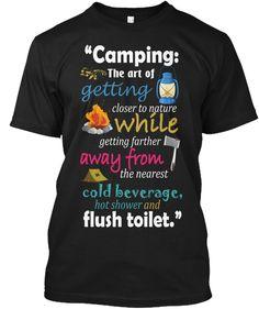 Camping T Shirt Black T-Shirt Front