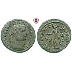 Römische Kaiserzeit, Diocletianus, Follis 301, vz: Diocletianus 284-305. AE-Follis 26 mm 301 Alexandria. Kopf r. mit Lorbeerkranz… #coins