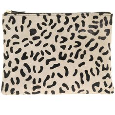 Asos Leather Clutch Bag With Faux Animal Print ($61) ❤ liked on Polyvore
